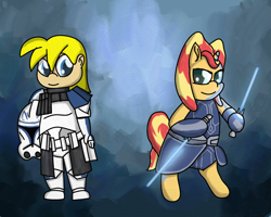 Size: 3000x2400 | Tagged: safe, artist:saburodaimando, sunset shimmer, oc, oc:wanda young, human, pony, togruta, ahsoka tano, alternate hairstyle, captain rex, child, clone trooper, clone wars, female, filly, filly sunset shimmer, lightsaber, star wars, weapon, younger