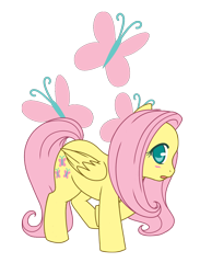 Size: 550x750 | Tagged: safe, artist:assechan, fluttershy, pegasus, pony, blushing, cute, cutie mark background, female, looking at you, mare, no pupils, open mouth, profile, shyabetes, simple background, solo, transparent background