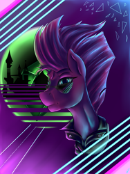 Size: 1500x2000 | Tagged: safe, artist:com3tfire, tempest shadow, pony, unicorn, 80s, bust, clothes, digital art, drawing, jacket, portrait, solo, sunglasses, synthwave
