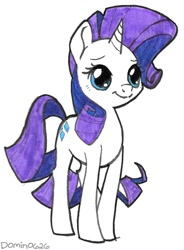 Size: 943x1280 | Tagged: safe, artist:domino626, rarity, pony, unicorn, female, mare, marker drawing, simple background, smiling, solo, traditional art, white background