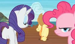 Size: 1832x1079 | Tagged: safe, screencap, applejack, pinkie pie, rarity, earth pony, pony, unicorn, ppov, angry, butt, female, mare, ocean, pier, plot