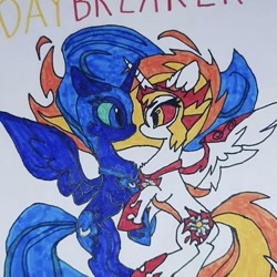 Size: 590x589 | Tagged: safe, artist:electric spark, artist:tomatocoup, daybreaker, nightmare moon, alicorn, pony, cute, diabreaker, duo, duo female, female, mare, moonabetes, siblings, simple background, sisters, text, trace, traditional art, white background