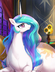Size: 944x1220 | Tagged: safe, artist:chigusa, princess celestia, alicorn, horse, pony, curtains, cute, cutelestia, female, flower, flower vase, huge butt, large butt, looking sideways, lying down, mare, praise the sun, princess celestia is a horse, small head, solo, the ass was fat, thick, vase, window