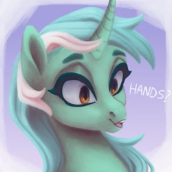 Size: 571x572 | Tagged: safe, artist:violettacamak, lyra heartstrings, pony, unicorn, bust, cute, dialogue, female, hand, lyrabetes, mare, open mouth, portrait, solo, that pony sure does love hands