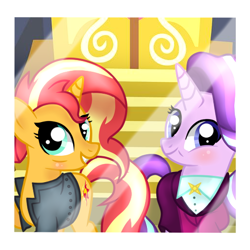 Size: 512x512 | Tagged: safe, artist:fiona984, artist:perplexedpegasus, artist:themune, starlight glimmer, sunset shimmer, pony, unicorn, the last problem, bags under eyes, base used, blushing, clothes, female, grin, jacket, leather jacket, lesbian, mare, older, older starlight glimmer, older sunset, school of friendship, shimmerglimmer, shipping, shirt, smiling, suit