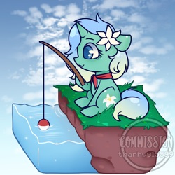 Size: 780x780   Tagged: safe, artist:thanhvy15599, oc, oc only, oc:lily pond, pony, unicorn, chibi, commission, female, fishing, fishing rod, flower, flower in hair, mare, solo, ych result