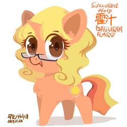 Size: 1400x1400   Tagged: safe, artist:holp, oc, oc only, oc:succulant holp, unicorn, chinese, cute, daaaaaaaaaaaw, english, female, glasses, horn, looking at you, ocbetes, ongcon monicter, open mouth, signature, simple background, unicorn oc
