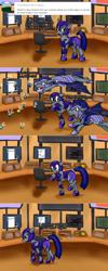 Size: 1280x3204 | Tagged: safe, artist:bingodingo, oc, oc:adamant, oc:pun, oc:westwood, bat pony, parasprite, pony, ask pun, agent 707, ask, male, night guard, stallion