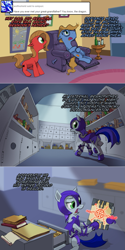 Size: 1203x2404 | Tagged: safe, artist:ruffu, oc, oc only, oc:cordovan, oc:pun, earth pony, pony, ask pun, agent 707, armor, ask, comic, duo, female, file, glasses, hoof hold, male, mare, night guard armor, stallion