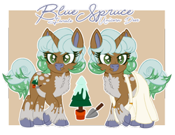 Size: 650x502 | Tagged: safe, artist:lemonkaiju, oc, oc:blue spruce, deer, deer pony, hybrid, original species, unicorn, clothes, cloven hooves, female, mare, skirt, solo