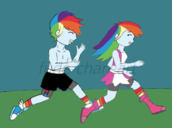 Size: 1973x1478 | Tagged: safe, artist:fude-chan-art, rainbow dash, equestria girls, boxing boots, boxing shoes, boxing shorts, boxing skirt, boxing trunks, clothes, crop top bra, cycling shorts, equestria guys, exeron fighters, exeron outfit, female, jogging, midriff, r63 paradox, rainbow blitz, rule 63, shoes, shorts, sneakers, socks, sports bra, sports shorts