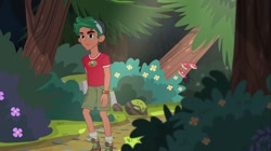 Size: 1100x618 | Tagged: safe, screencap, timber spruce, equestria girls, legend of everfree, boots, camp everfree logo, camp everfree outfits, cargo shorts, clothes, green eyes, legs, male, shirt, shoes, shorts, socks, t-shirt