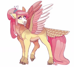 Size: 1024x931 | Tagged: safe, artist:uunicornicc, fluttershy, pony, the last problem, older, older fluttershy, simple background, solo, tail feathers, white background