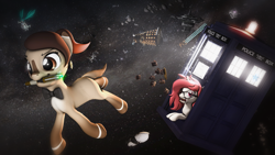 Size: 3840x2160 | Tagged: safe, artist:star-lightstarbright, oc, oc only, oc:claire, oc:red ace, pony, 3d, dalek, doctor who, female, mare, mouth hold, sonic screwdriver, tardis