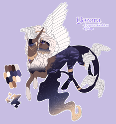 Size: 1461x1567 | Tagged: safe, artist:lunawolf28, oc, oc only, oc:yozora, hybrid, sphinx, blue background, chest fluff, ethereal mane, female, hair jewelry, head wings, jewelry, simple background, solo, starry mane, tail wings, white outline, wings