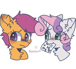 Size: 1973x1803 | Tagged: safe, artist:reonletaviio, scootaloo, sweetie belle, pegasus, pony, unicorn, blushing, chest fluff, cute, female, fluffy, holiday, lesbian, scootabelle, shipping, simple background, valentine, valentine's day, white background