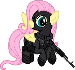 Size: 6000x5607 | Tagged: safe, artist:n0kkun, fluttershy, pegasus, pony, ak-103, assault rifle, badass, balaclava, belt, boots, clothes, cyrillic, female, flutterbadass, flying, fsb, gloves, gun, handgun, holster, jacket, mare, mask, p-96s, pants, pistol, police, pouch, rifle, russian, shoes, simple background, solo, transparent background, weapon