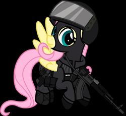 Size: 6000x5528 | Tagged: safe, alternate version, artist:n0kkun, fluttershy, pegasus, pony, ak-103, assault rifle, badass, balaclava, belt, boots, clothes, cyrillic, female, flutterbadass, flying, fsb, gloves, gun, handgun, helmet, holster, jacket, mare, mask, p-96s, pants, pistol, police, pouch, ppe, rifle, russian, shoes, simple background, solo, transparent background, weapon