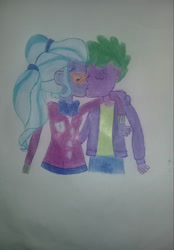 Size: 2269x3264   Tagged: safe, spike, sugarcoat, equestria girls, human spike, kissing, spike gets all the crystal prep, spike gets all the equestria girls, spikecoat, spikelove