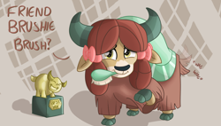 "Size: 1738x990 | Tagged: safe, artist:sintakhra, yona, yak, tumblr:studentsix, ""best yak"" trophy, bow, brush, cloven hooves, cute, female, hair bow, monkey swings, mouth hold, solo, tail wag, weapons-grade cute, yonadorable"