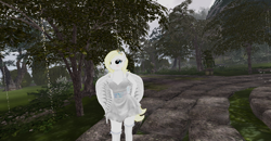 Size: 1920x1001 | Tagged: safe, oc, oc:solari melody, anthro, blonde mane, clothes, dress, forest, knee high socks, pathway, second life, socks