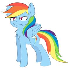 Size: 1280x1218 | Tagged: safe, artist:nevaylin, rainbow dash, pegasus, pony, :t, backwards cutie mark, chest fluff, cute, dashabetes, ear fluff, female, leg fluff, mare, puffy cheeks, simple background, solo, white background