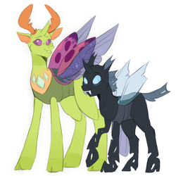 Size: 1024x1024 | Tagged: safe, artist:taikochann, thorax, changedling, changeling, cute, duality, king thorax, male, self ponidox, simple background, smiling, thorabetes, time paradox, white background