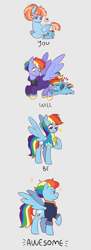 Size: 2000x5500 | Tagged: safe, artist:aylufujo, bow hothoof, rainbow dash, windy whistles, pegasus, pony, the last problem, age progression, baby, baby dash, baby pony, clothes, cute, dashabetes, female, filly, filly rainbow dash, heart, high res, lead pony badge, male, mare, older, older rainbow dash, pictogram, speech bubble, stallion, uniform, wholesome, wonderbolt trainee uniform, younger