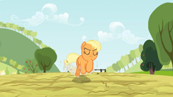 Size: 1920x1080 | Tagged: safe, screencap, applejack, earth pony, pony, the last roundup, animation error, solo