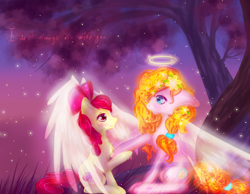 Size: 1800x1400 | Tagged: safe, artist:ashleycl, apple bloom, pear butter, earth pony, pony, angel, angelic wings, bittersweet, chest fluff, crying, duo, female, filly, floppy ears, halo, intertwined trees, mare, mother and child, mother and daughter, tree, wings