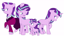 Size: 5659x3219 | Tagged: safe, artist:chub-wub, starlight glimmer, pony, unicorn, the last problem, absurd resolution, age progression, blank flank, cute, equal cutie mark, female, filly, filly starlight glimmer, floppy ears, glimmerbetes, headmare starlight, mare, multeity, older, older starlight glimmer, one eye closed, open mouth, part of a set, profile, s5 starlight, self ponidox, simple background, time paradox, white background, wink, younger