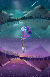 Size: 3300x5100 | Tagged: safe, artist:pettypop, sci-twi, timber spruce, twilight sparkle, equestria girls, clothes, dancing, dress, feet, female, graveyard of comments, lake, male, mountain, reflection, sad, shipping, stars, straight, timbertwi