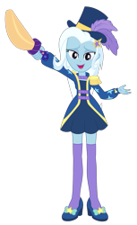 Size: 1409x2300 | Tagged: safe, artist:ponyalfonso, trixie, equestria girls, equestria girls series, street magic with trixie, spoiler:eqg series (season 2), clothes, dress, female, hat, looking at you, magician outfit, open mouth, request, simple background, solo, sword, transparent background, vector, weapon