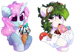 Size: 1200x850   Tagged: safe, artist:mirtash, oc, oc only, oc:lexing, oc:scoops, pony, unicorn, bust, donut, eating, food, goggles, ice cream, simple background, white background