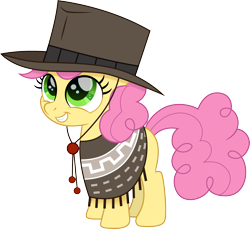Size: 1639x1500   Tagged: safe, artist:cloudyglow, li'l cheese, earth pony, pony, the last problem, clothes, cloudyglow is trying to murder us, colt, cute, hat, li'l cuteese, male, movie accurate, simple background, smiling, solo, transparent background, weapons-grade cute, wild west