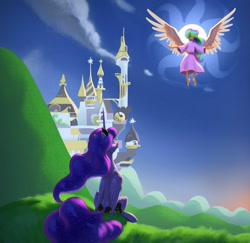 Size: 1600x1552 | Tagged: safe, artist:nadnerbd, princess celestia, princess luna, alicorn, human, pony, canterlot, digital art, fanfic art, female, humanized, mare, royal sisters, winged humanization, wings