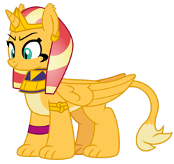 Size: 1024x967 | Tagged: safe, artist:emeraldblast63, sunset shimmer, sphinx, daring done?, pale belly, simple background, solo, species swap, sphinxified, transparent background