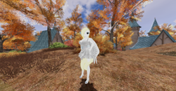 Size: 1920x1001 | Tagged: safe, oc, oc:solari melody, anthro, 3d, autumn, blonde mane, clothes, dress, german town, leaves, second life, tree