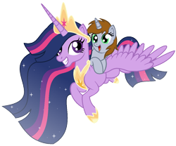 Size: 1046x870   Tagged: safe, artist:mlptmntdisneykauane, twilight sparkle, oc, oc:littlepip, alicorn, pony, fallout equestria, the last problem, crown, cute, duo, female, filly, flying, jewelry, looking at each other, mare, ocbetes, older, older twilight, pipabetes, princess twilight 2.0, regalia, simple background, smiling, transparent background, twiabetes, twilight sparkle (alicorn), ultimate twilight, wings