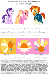 Size: 1023x1582   Tagged: safe, luster dawn, starlight glimmer, sunburst, pony, unicorn, the last problem, daughter, father, female, headcanon, luster dawn is starlight's and sunburst's daughter, male, mother, shipping, simple background, starburst, straight, theory, white background