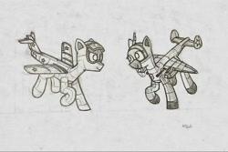 Size: 960x642 | Tagged: safe, artist:hbgxh, oc, original species, plane pony, pony, mig-15, monochrome, plane, ponified, soviet, tis ma, traditional art