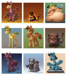 Size: 3000x3400 | Tagged: safe, artist:gor1ck, oc, oc:adeptus monitus, oc:bra1neater, oc:cyanoger, oc:fractal, oc:gor1ck, oc:nemo2d, oc:wit ray, buffalo, cat, earth pony, pegasus, pony, apple, axe, banana peel, bowtie, buffalo oc, cat oc, chest fluff, fire, flamethrower, food, gradient background, knife, mask, mouth hold, musical instrument, prehensile beard, sculpting, smoking, synthesizer, weapon