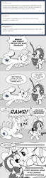 Size: 896x3464 | Tagged: safe, artist:mamatwilightsparkle, spike, twilight sparkle, dragon, pony, unicorn, baby, baby spike, comic, diaper, monochrome, playing, raspberry, roleplay, tickling, tongue out, tumblr, tummy buzz, younger