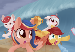 Size: 1024x708 | Tagged: safe, artist:dusthiel, oc, oc only, oc:indonisty, oc:kwankao, oc:pearl shine, oc:rosa blossomheart, oc:temmy, pegasus, pony, unicorn, project seaponycon, female, indonesia, malaysia, mare, nation ponies, philippines, ponified, raft, singapore, thailand, wave