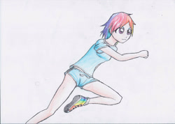 Size: 2903x2066   Tagged: safe, artist:hanaatori, rainbow dash, human, converse, female, humanized, running, shoes, solo, traditional art