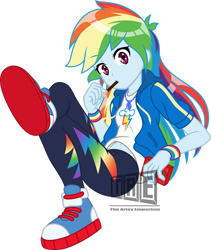 Size: 2251x2665 | Tagged: safe, artist:rockset, artist:theartsyemporium, rainbow dash, equestria girls, arm band, belly button, clothes, converse, crossed legs, female, food, jacket, looking at you, pocky, shoes, simple background, solo, transparent background