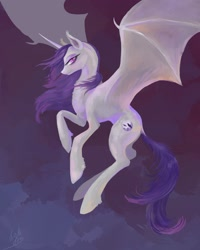 Size: 1728x2160 | Tagged: safe, artist:alice firewing, oc, oc:shady nite, alicorn, pony, vampire, ear fluff, female, flying, princess, simple background, sky, solo, spread wings, wind, wings