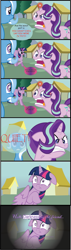 Size: 487x1717 | Tagged: safe, starlight glimmer, trixie, twilight sparkle, alicorn, pony, unicorn, all bottled up, comic, cross-popping veins, floppy ears, low quality, quiet, ragelight glimmer, song reference, the sound of silence, twilight sparkle (alicorn)
