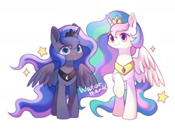 Size: 1417x1063 | Tagged: safe, artist:leafywind, princess celestia, princess luna, alicorn, pony, colored pupils, crown, cute, cutelestia, duo, female, jewelry, lunabetes, mare, no nose, obtrusive watermark, regalia, royal sisters, siblings, simple background, sisters, stars, watermark, white background