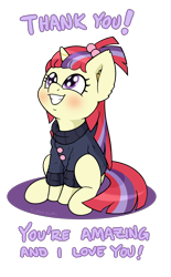 Size: 1300x2100 | Tagged: safe, artist:kumakum, moondancer, pony, unicorn, clothes, cute, dancerbetes, female, mare, missing accessory, simple background, sitting, smiling, solo, sweater, text, thank you, transparent background